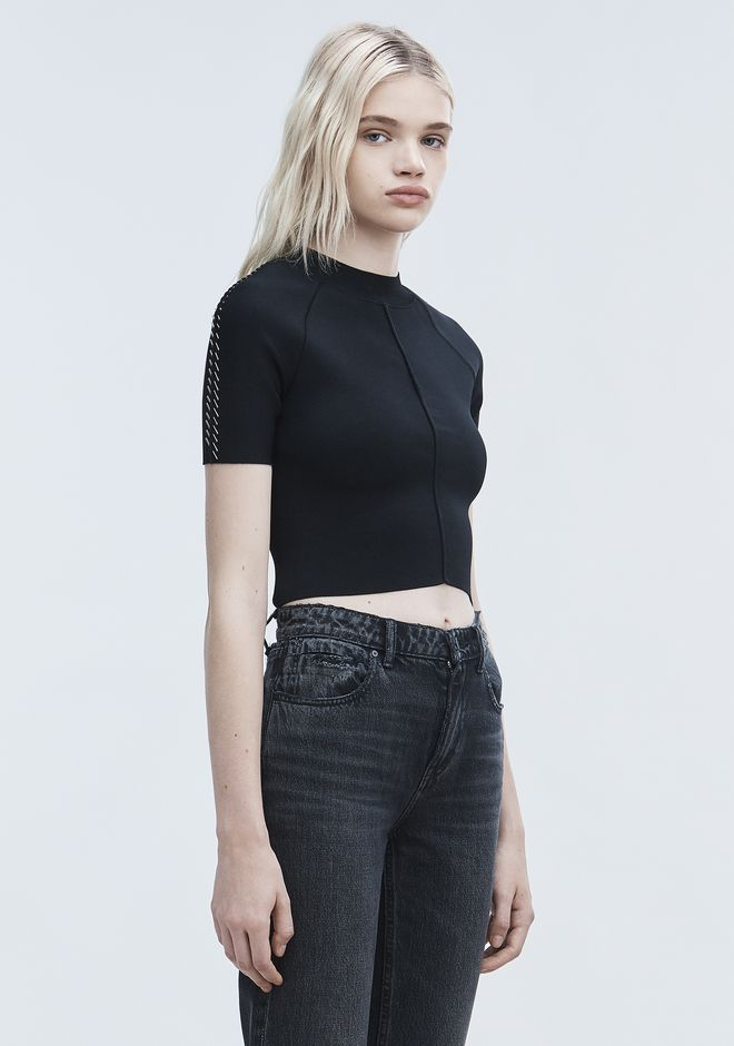 ALEXANDER WANG PIERCED CROPPED TEE TOP Adult 12_n_a