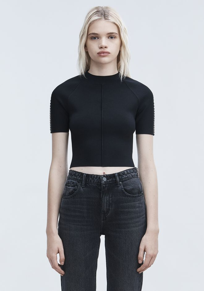 ALEXANDER WANG PIERCED CROPPED TEE TOP Adult 12_n_e