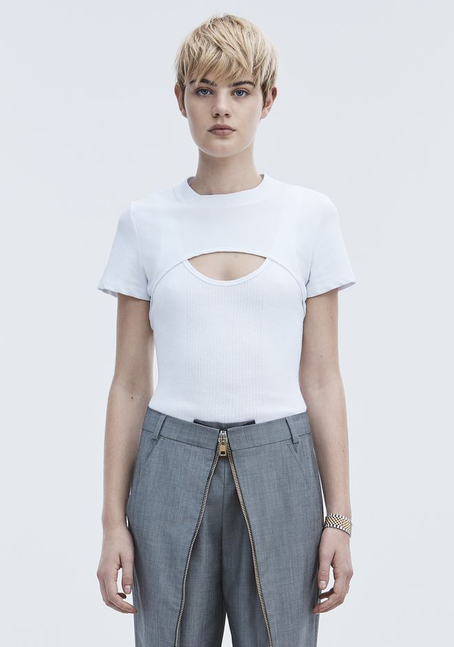 T by ALEXANDER WANG COMBO SHORT SLEEVE TOP TOP Adult 12_n_e