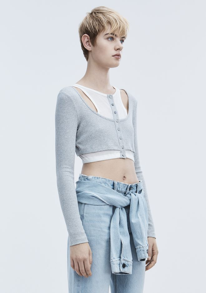 T by ALEXANDER WANG LAYERED CROP TOP TOP Adult 12_n_a