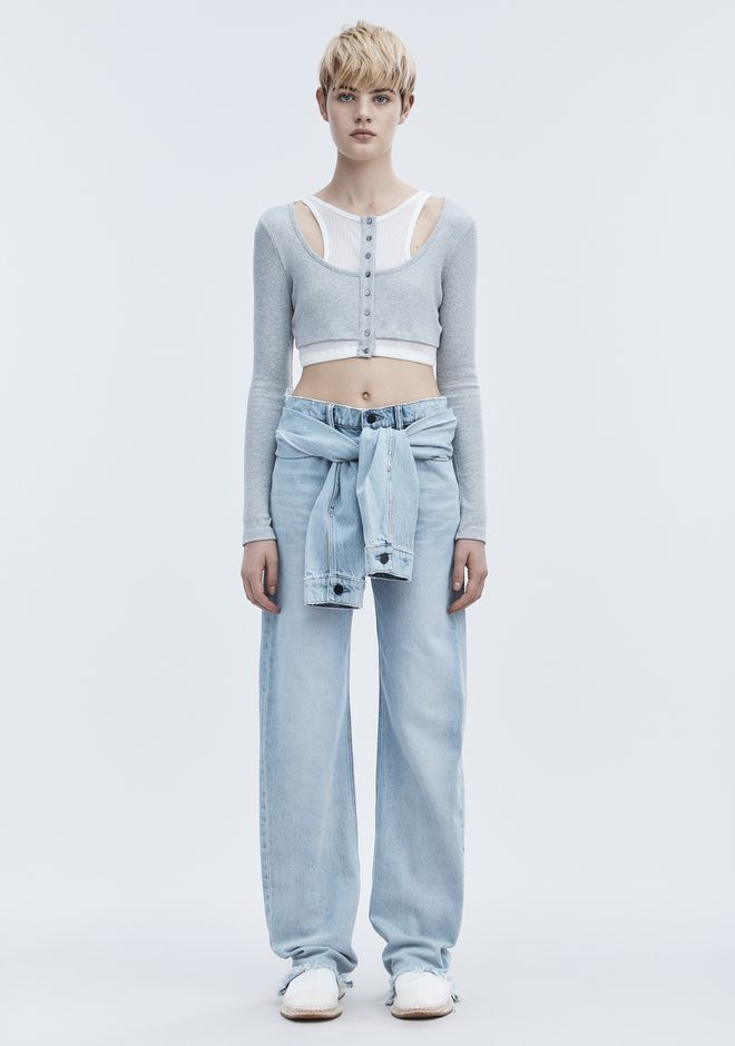 T by ALEXANDER WANG LAYERED CROP TOP TOP Adult 12_n_f