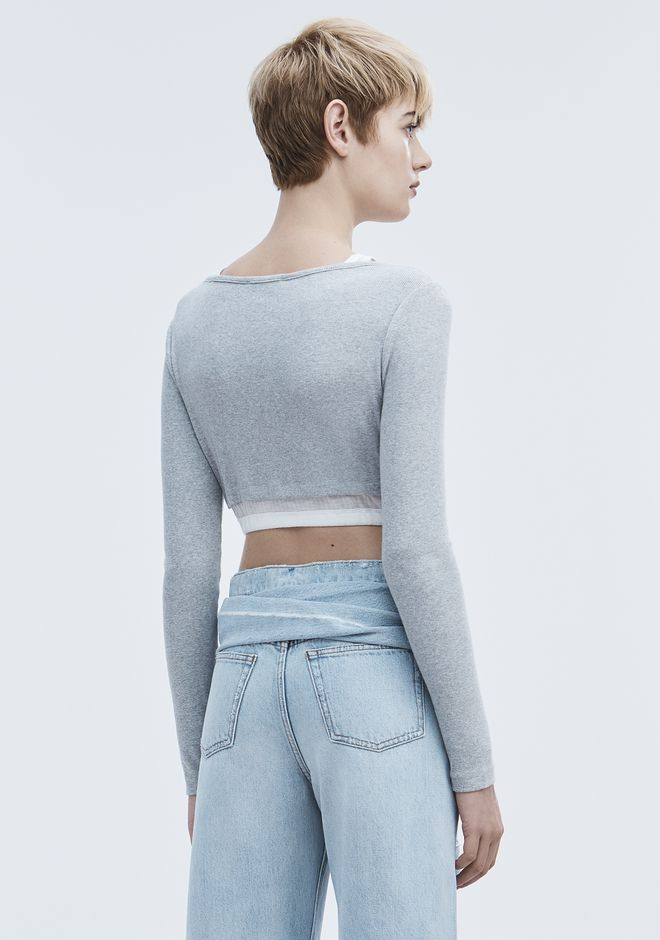 T by ALEXANDER WANG LAYERED CROP TOP TOP Adult 12_n_d
