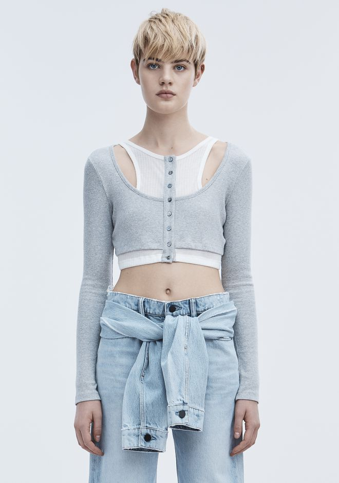 T by ALEXANDER WANG LAYERED CROP TOP TOP Adult 12_n_e
