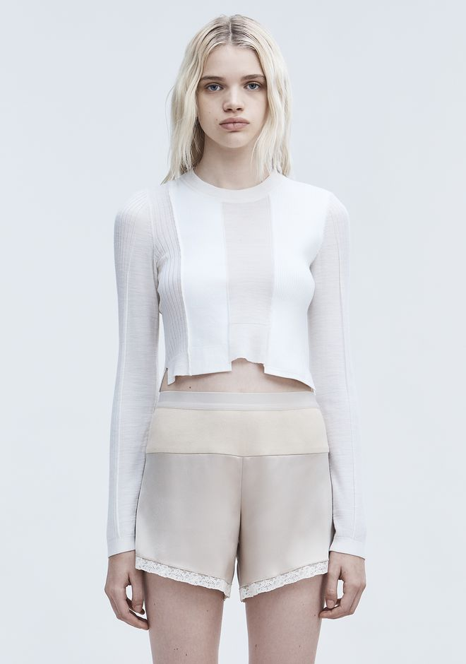 T by ALEXANDER WANG sltbssw CROPPED SWEATER