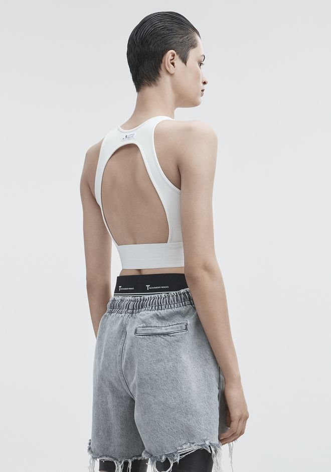 T by ALEXANDER WANG CUT OUT CROP TOP TOP Adult 12_n_r