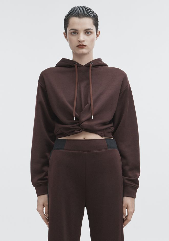 T by ALEXANDER WANG TOPS Women TWIST FRONT HOODIE