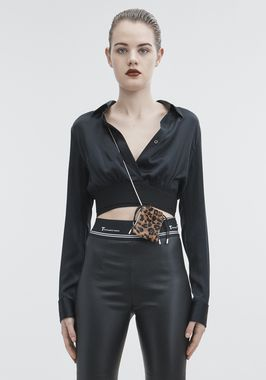 SILK CHARMEUSE CROP SHIRT