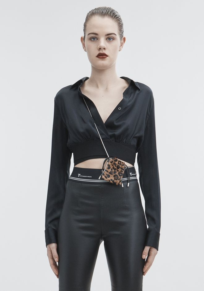T by ALEXANDER WANG new-arrivals-t-by-alexander-wang-woman SILK CHARMEUSE CROP SHIRT