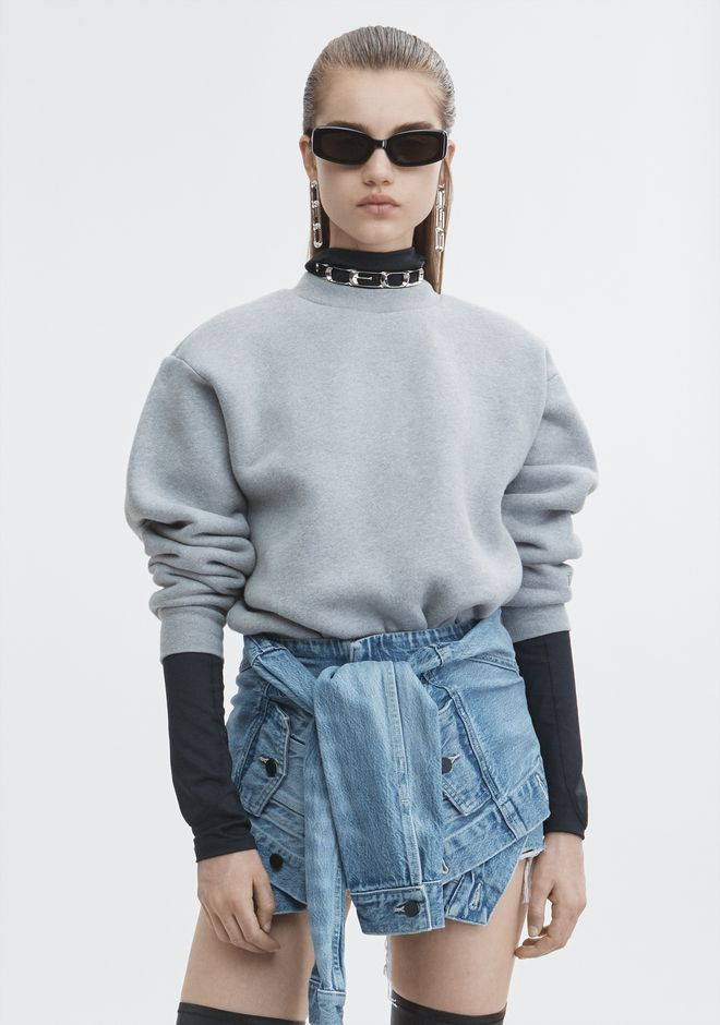 T by ALEXANDER WANG TOPS EXCLUSIVE DENSE FLEECE SWEATSHIRT
