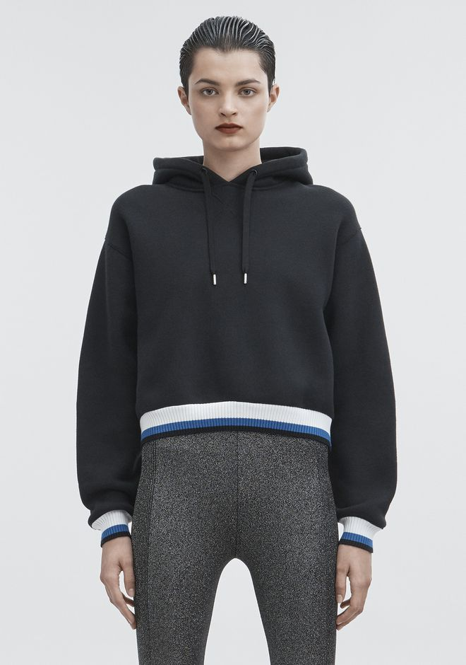 T by ALEXANDER WANG TOPS DENSE FLEECE HOODIE