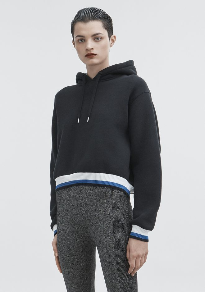 T by ALEXANDER WANG DENSE FLEECE HOODIE  TOP Adult 12_n_a