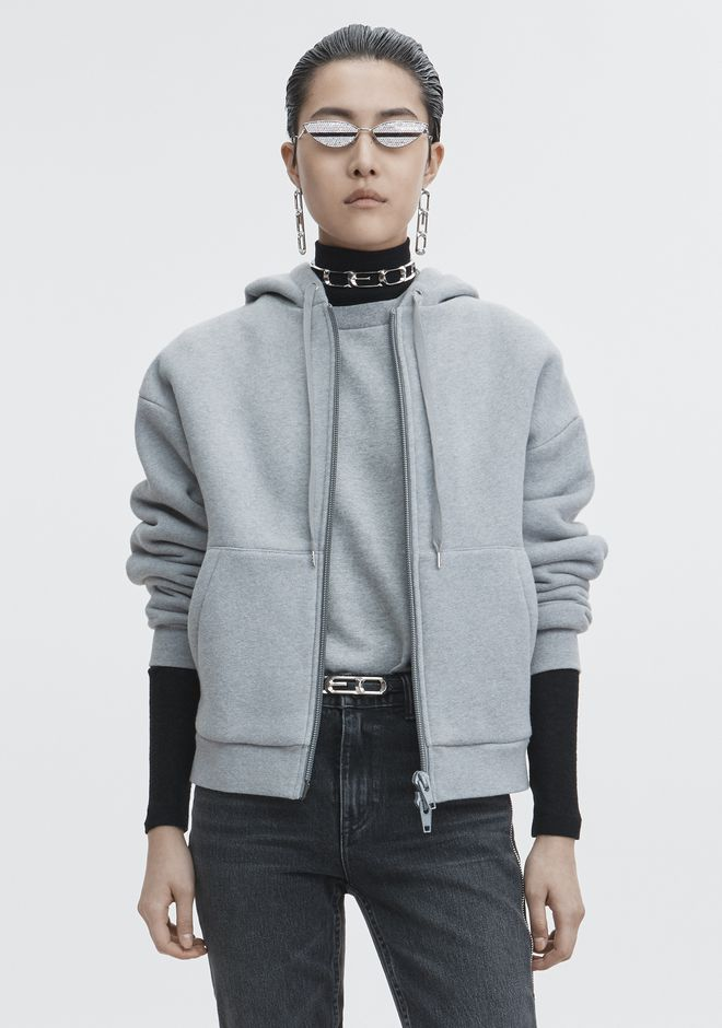 T by ALEXANDER WANG TOPS EXCLUSIVE DENSE FLEECE HOODIE