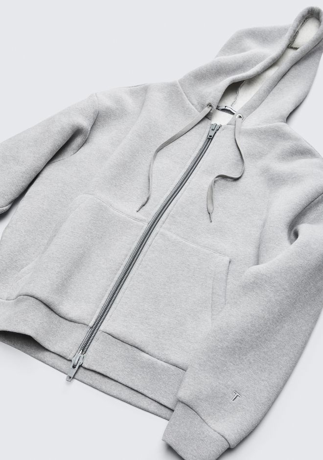 T by ALEXANDER WANG EXCLUSIVE DENSE FLEECE HOODIE TOP Adult 12_n_a