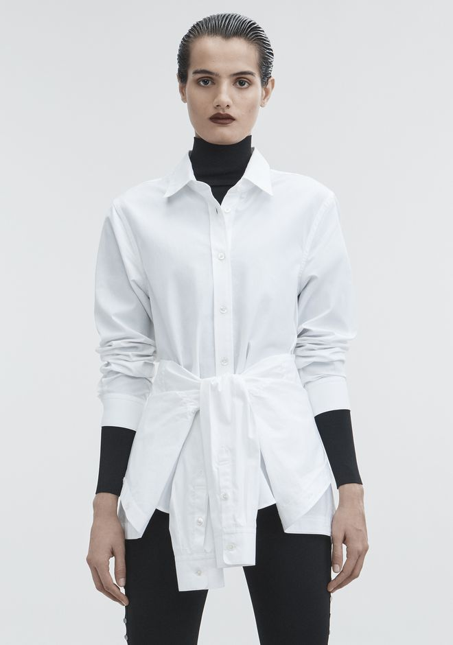 ALEXANDER WANG TIE FRONT SHIRT TOP Adult 12_n_e