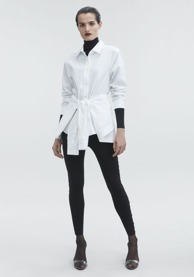ALEXANDER WANG TIE FRONT SHIRT TOP Adult 12_n_f