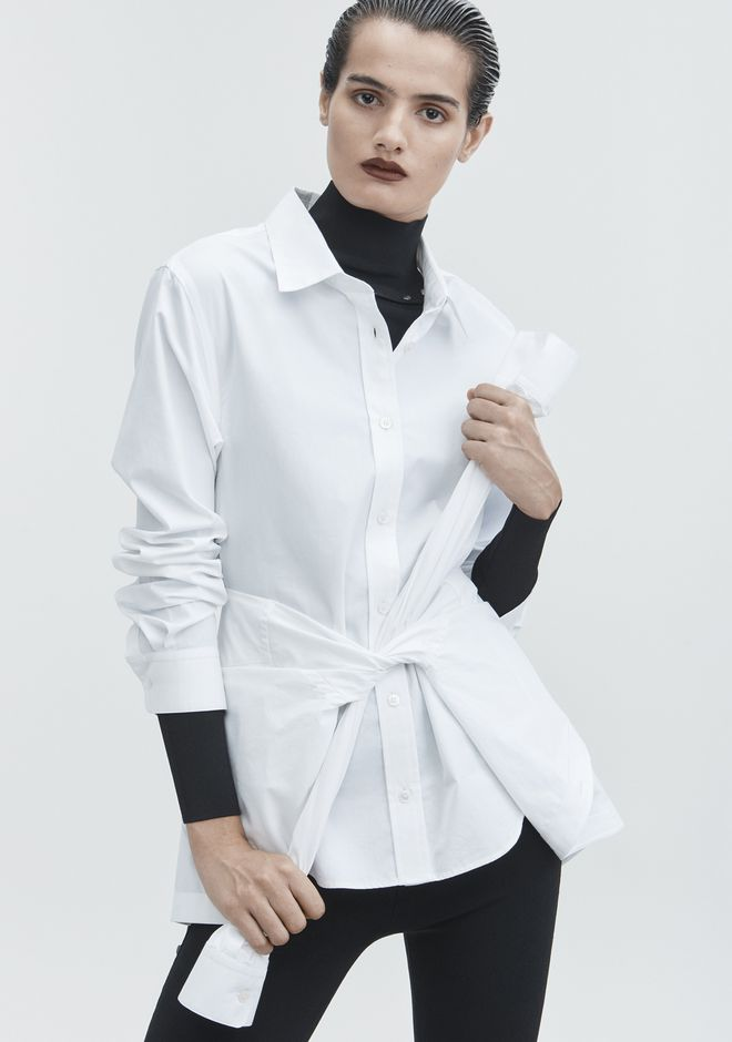 ALEXANDER WANG TIE FRONT SHIRT TOP Adult 12_n_r