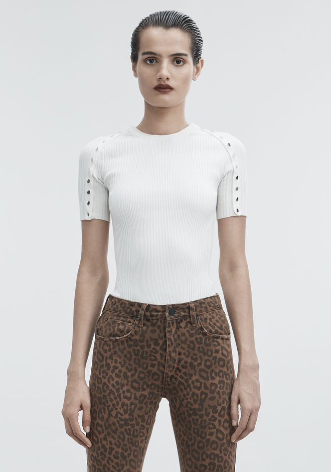 ALEXANDER WANG strickwaren-ready-to-wear-damenbekleidung SNAP CREWNECK TEE