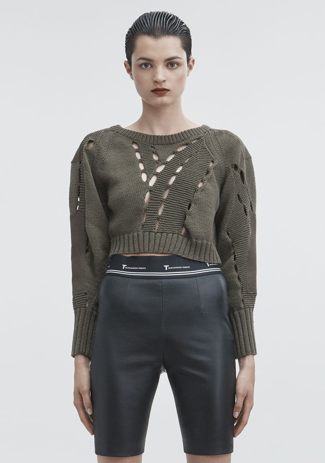 T by ALEXANDER WANG TOPS CROPPED KNIT SWEATER