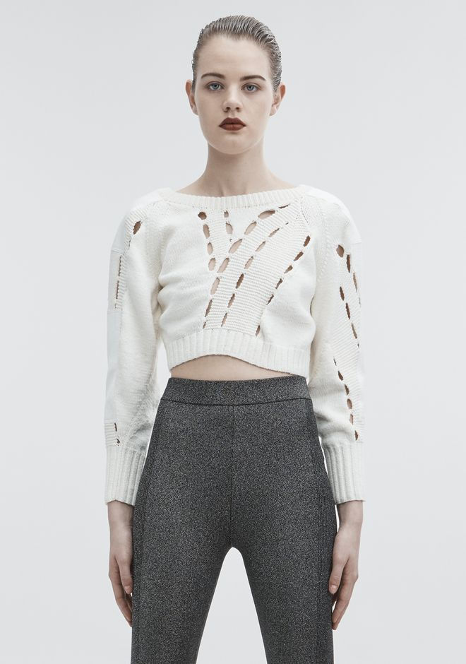 T by ALEXANDER WANG CROPPED KNIT SWEATER TOP Adult 12_n_e