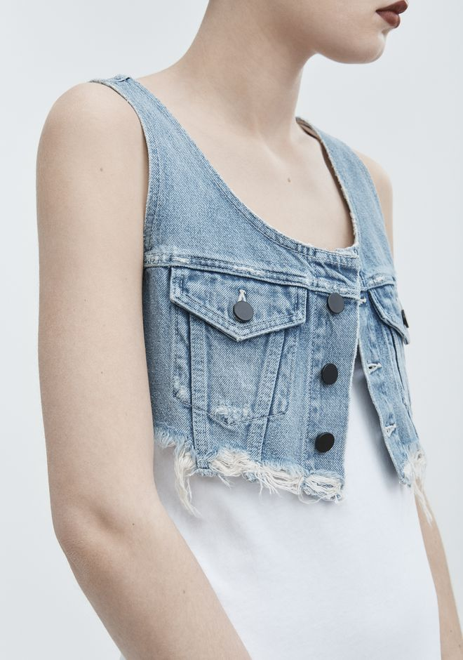 ALEXANDER WANG CROP TOP BRALETTE  DENIM Adult 12_n_d