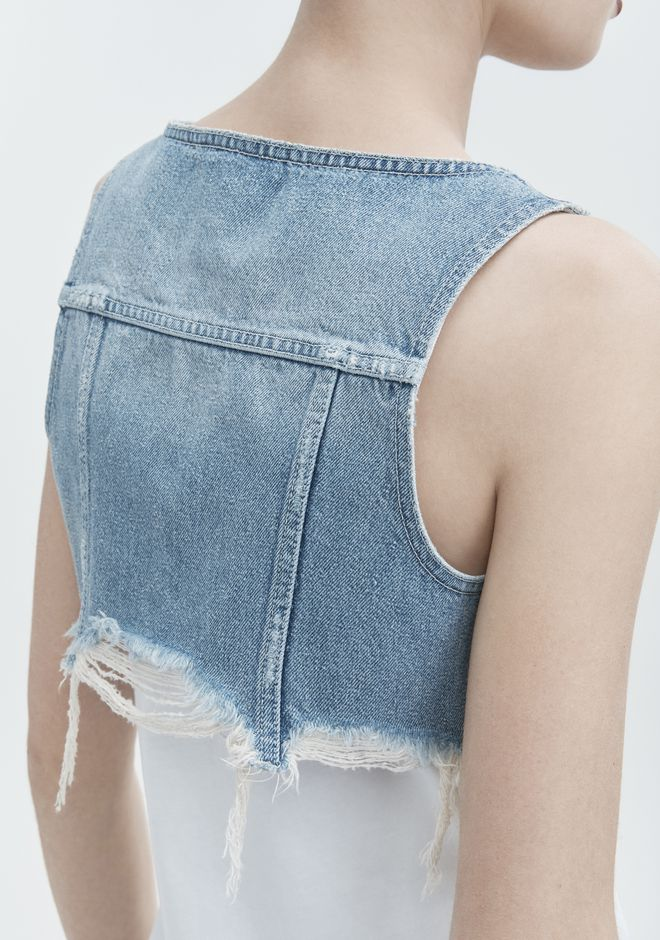 ALEXANDER WANG CROP TOP BRALETTE  DENIM Adult 12_n_r