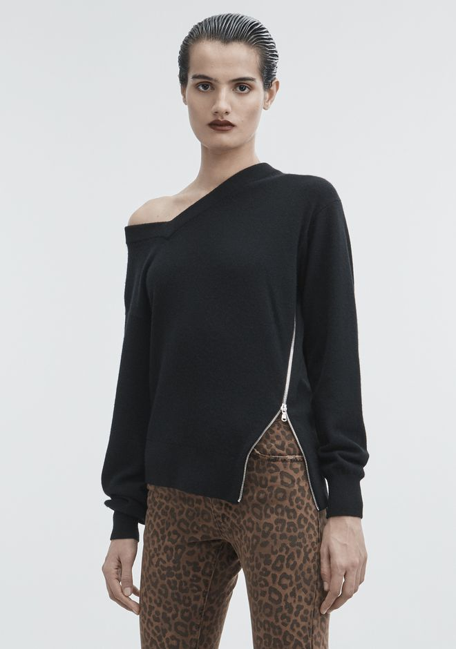 ALEXANDER WANG TORQUED V-NECK PULLOVER  TOP Adult 12_n_a
