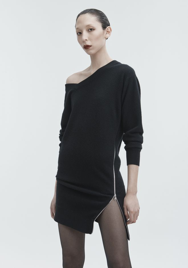 ALEXANDER WANG TORQUED V-NECK DRESS KNIT DRESS Adult 12_n_a