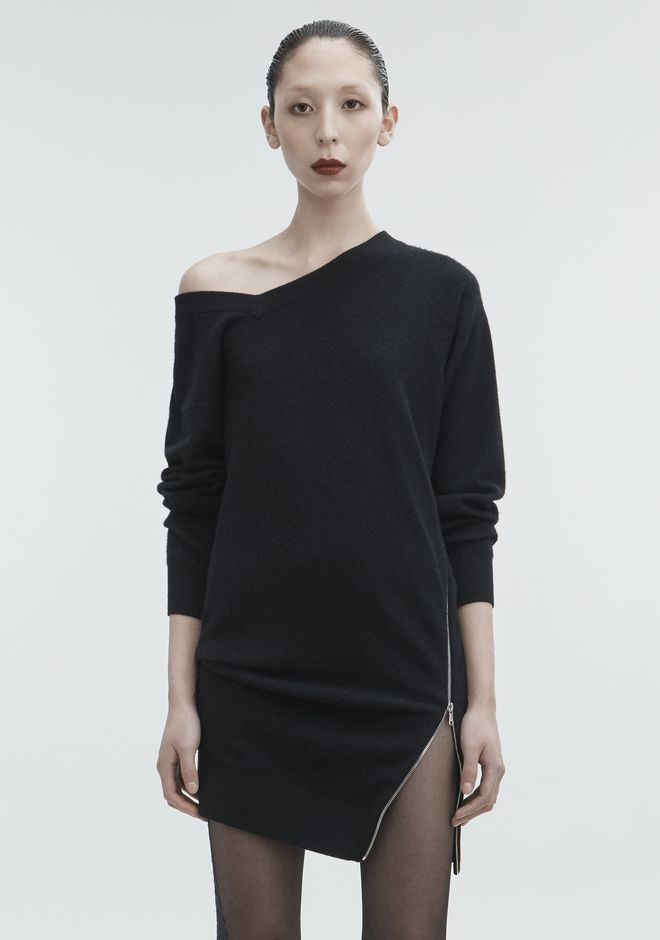 ALEXANDER WANG TORQUED V-NECK DRESS KNIT DRESS Adult 12_n_d