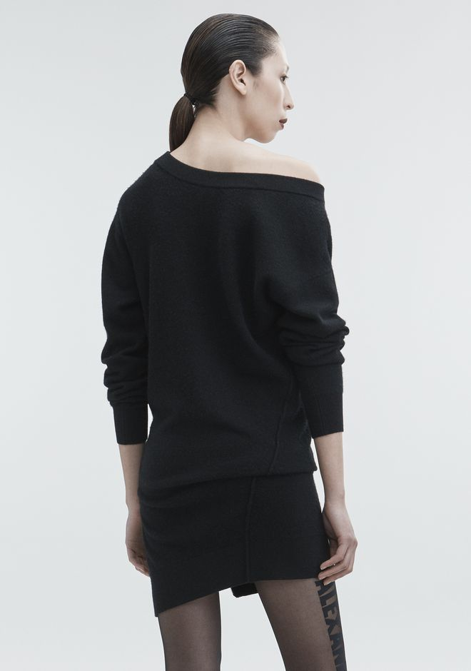 ALEXANDER WANG TORQUED V-NECK DRESS KNIT DRESS Adult 12_n_e