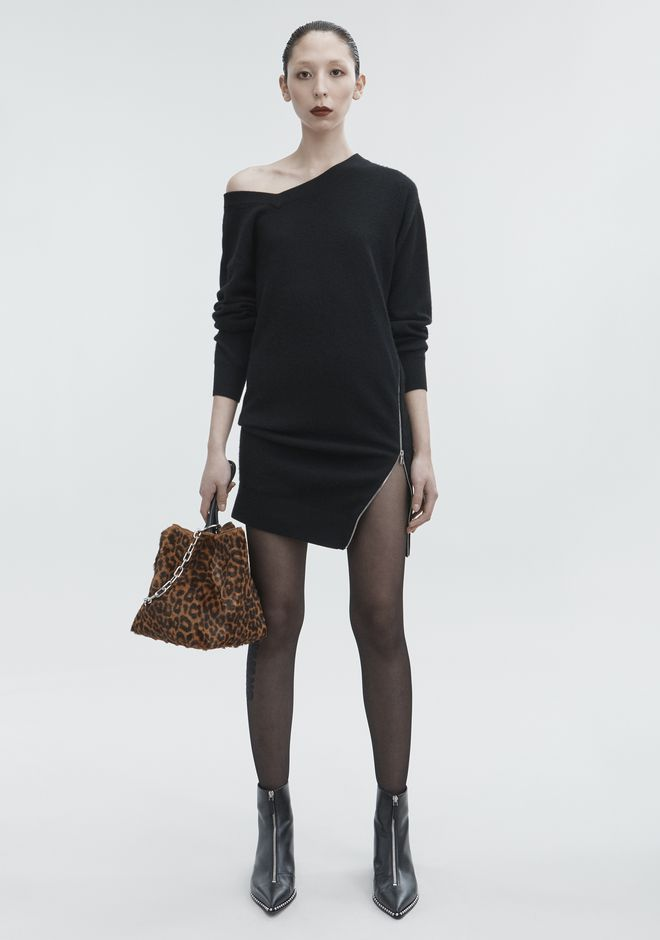 ALEXANDER WANG TORQUED V-NECK DRESS KNIT DRESS Adult 12_n_f