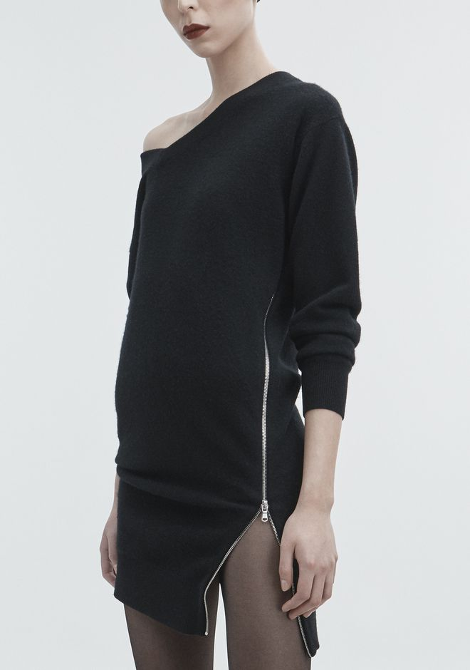 ALEXANDER WANG TORQUED V-NECK DRESS KNIT DRESS Adult 12_n_r