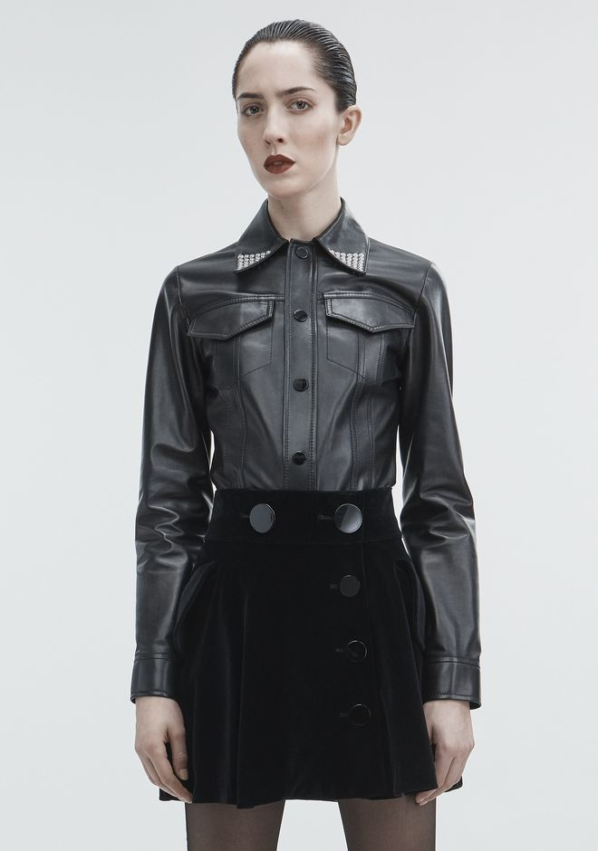 ALEXANDER WANG TOPS Women LEATHER SNAP SHIRT