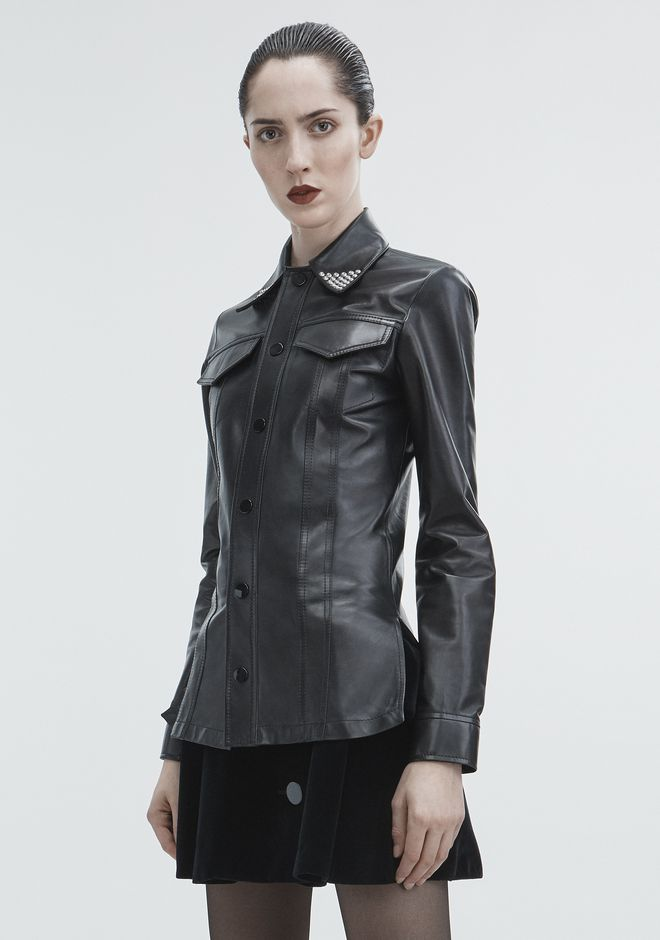 ALEXANDER WANG LEATHER SNAP SHIRT TOP Adult 12_n_a