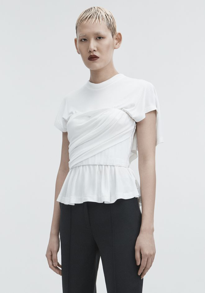 ALEXANDER WANG TWISTED CORSET TEE TOP Adult 12_n_a
