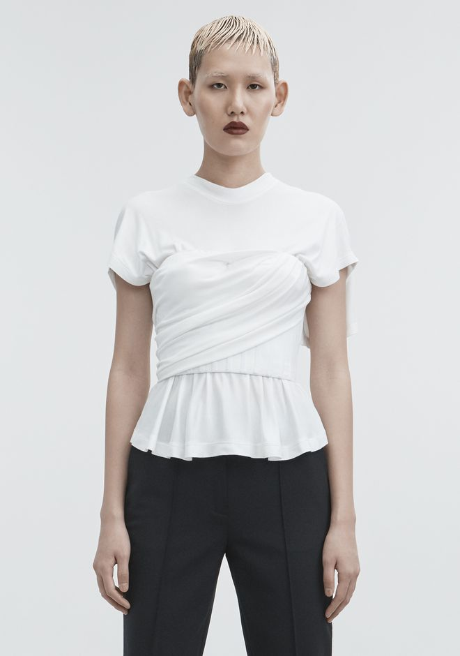 ALEXANDER WANG TWISTED CORSET TEE TOPS Adult 12_n_e
