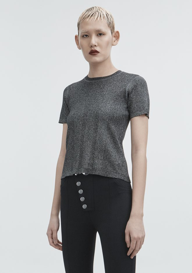 T by ALEXANDER WANG LUREX CREWNECK TOP Adult 12_n_a