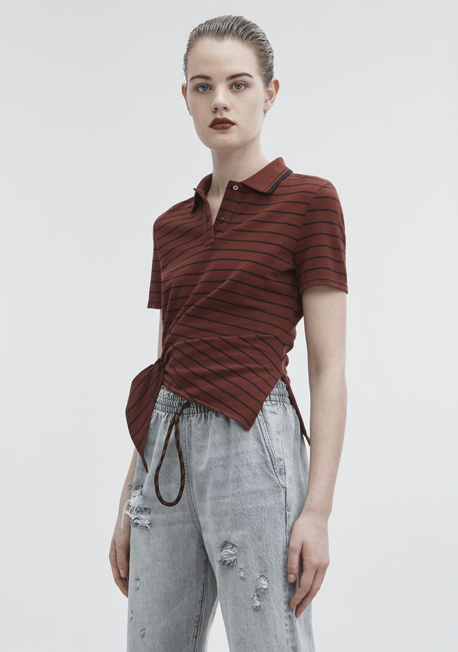 T by ALEXANDER WANG SIDE KNOT POLO TOP Adult 12_n_a