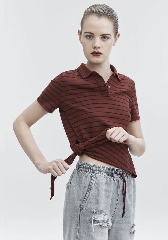 T by ALEXANDER WANG SIDE KNOT POLO TOP Adult 12_n_r