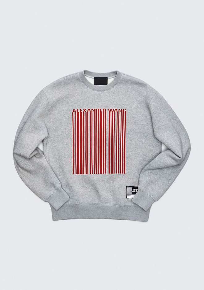 ALEXANDER WANG mens-new-apparel LONG SLEEVE CREW NECK BARCODE SWEATSHIRT