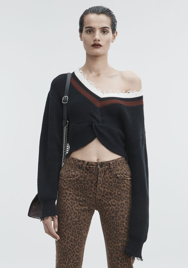 T by ALEXANDER WANG TOPS HYBRID VARSITY SWEATER