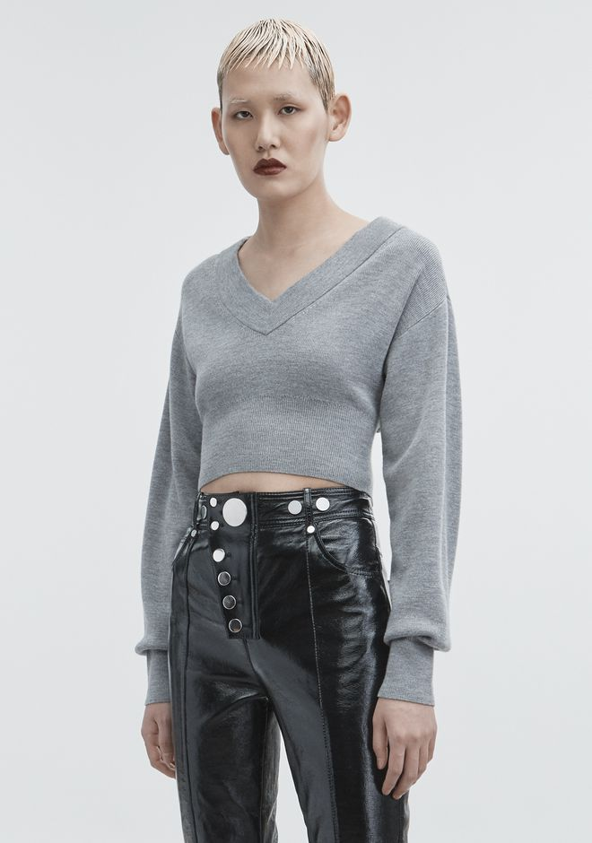 T by ALEXANDER WANG  CROPPED V-NECK SWEATER TOP Adult 12_n_a