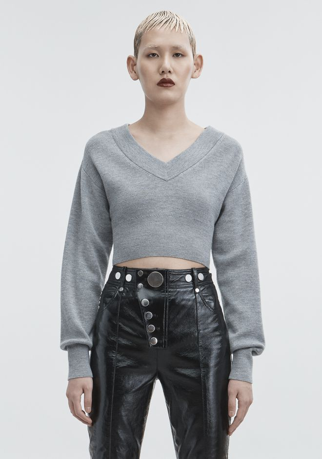 T by ALEXANDER WANG  CROPPED V-NECK SWEATER TOP Adult 12_n_d