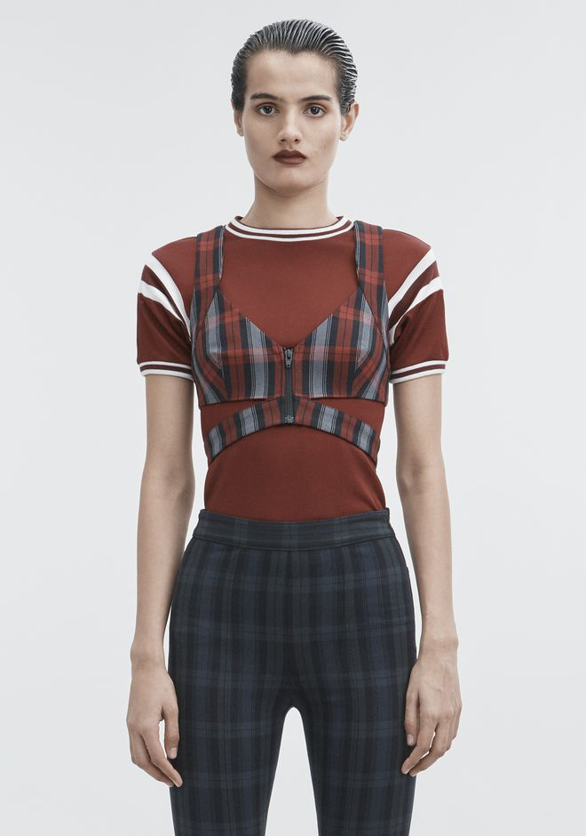 T by ALEXANDER WANG PLAID CROP TOP TOP Adult 12_n_e