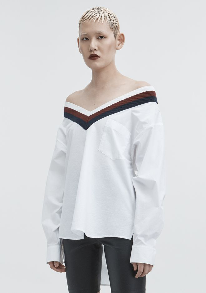 T by ALEXANDER WANG RIB TRIM COTTON POPLIN SHIRT TOP Adult 12_n_a