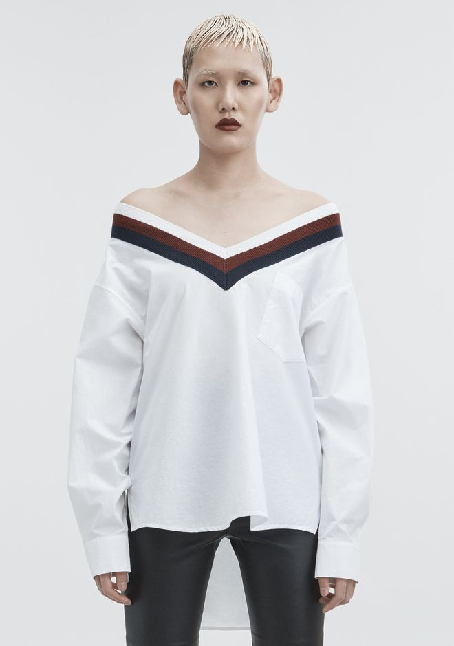 T by ALEXANDER WANG RIB TRIM COTTON POPLIN SHIRT TOP Adult 12_n_e