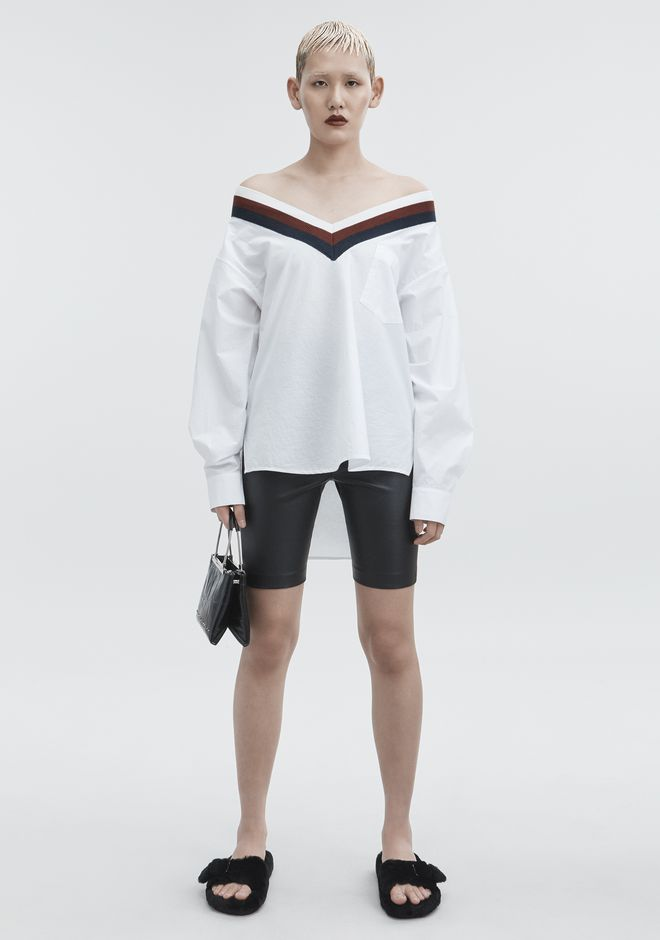T by ALEXANDER WANG RIB TRIM COTTON POPLIN SHIRT TOP Adult 12_n_f