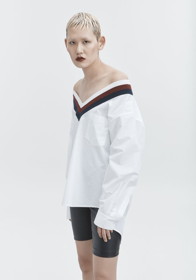 T by ALEXANDER WANG RIB TRIM COTTON POPLIN SHIRT TOP Adult 12_n_r