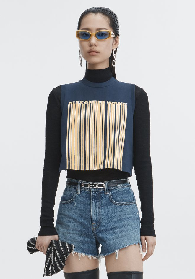 ALEXANDER WANG TOPS Women BARCODE CROPPED TOP