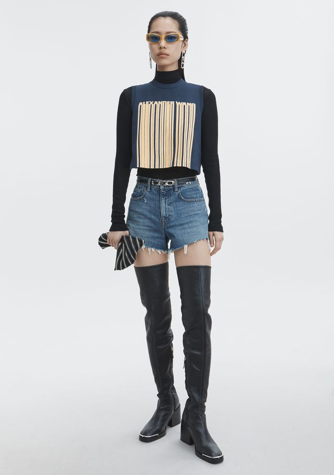ALEXANDER WANG BARCODE CROPPED TOP TOP Adult 12_n_f