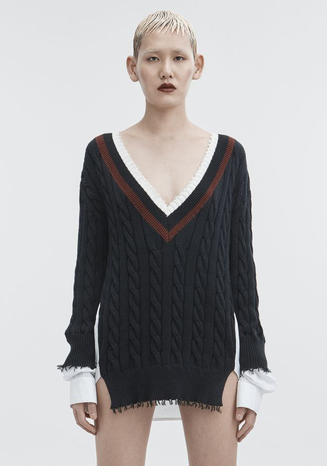 T by ALEXANDER WANG HYBRID VARSITY PULLOVER TOP Adult 12_n_e